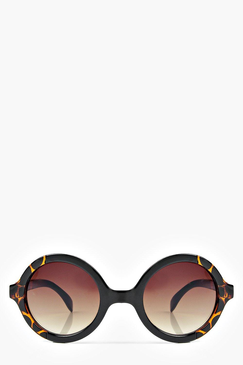 Isabel Contrast Frame Round Sunglasses