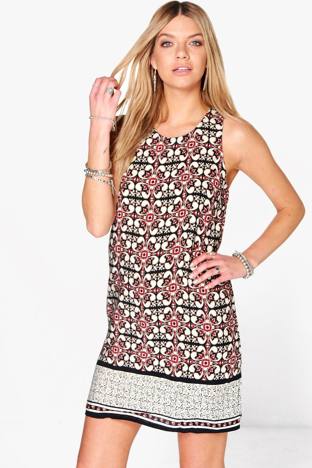 Hayley Tile Printed Sleeveless Shift Dress at boohoo.com