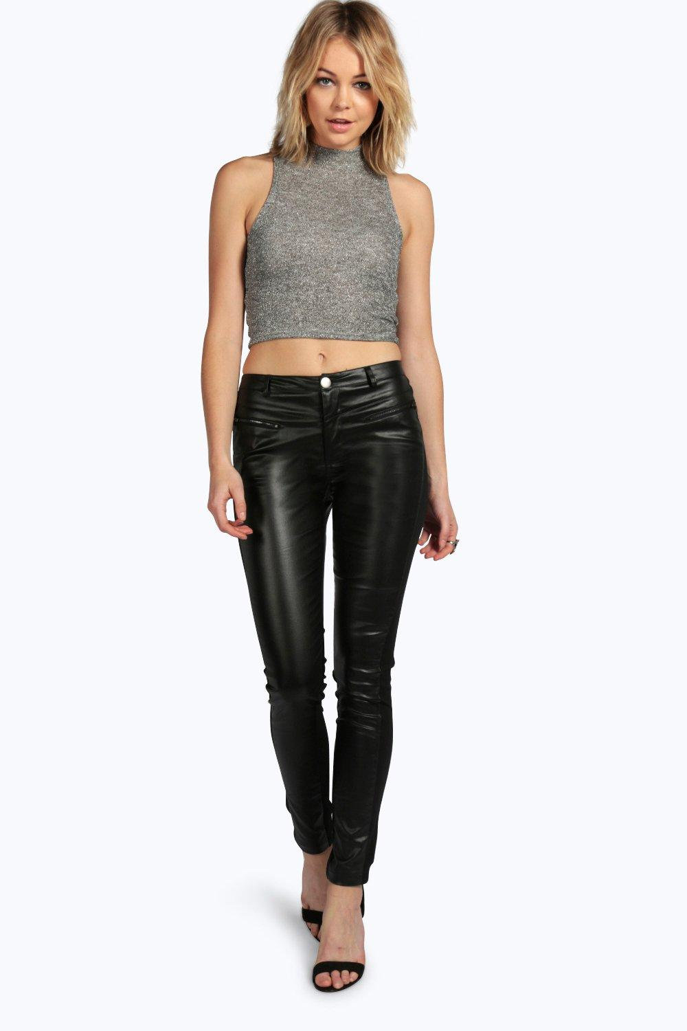 Freya PU Coated Contrast Panel Skinny Trousers