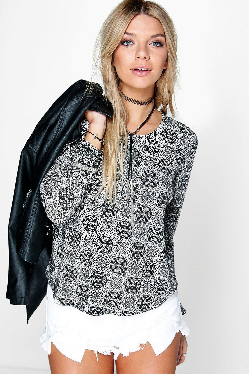 Lola Mixed Printed Long Sleeve Top