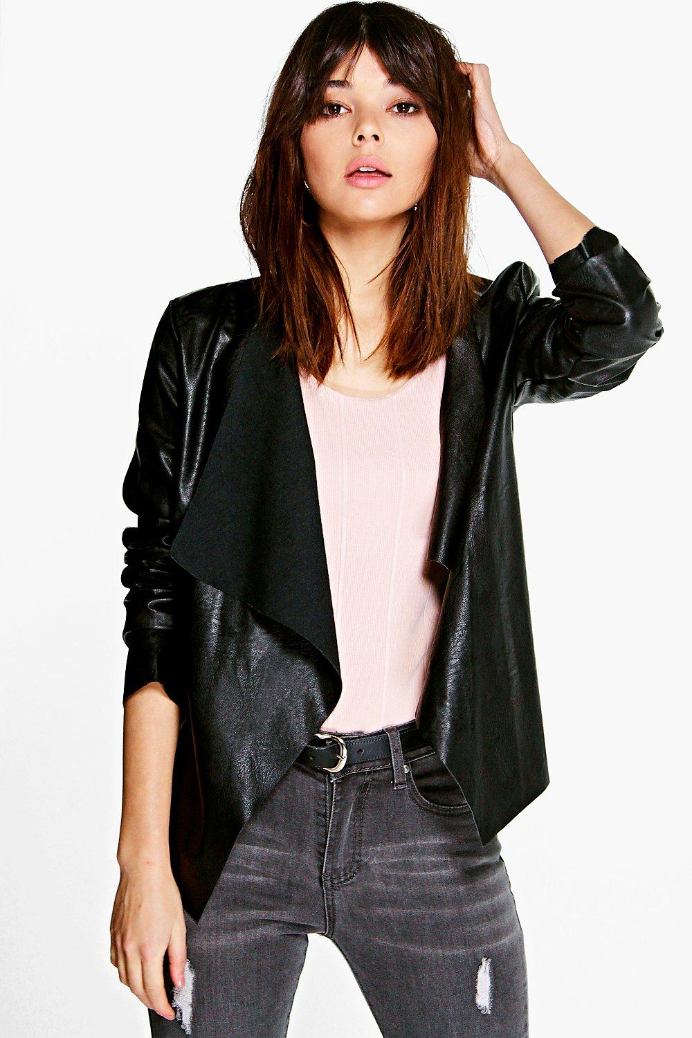 Kristina Waterfall Faux Leather Jacket