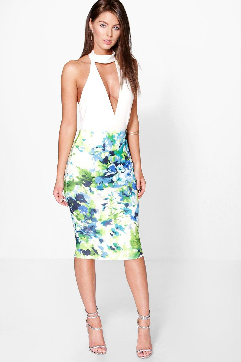 Ophelia Tropical Floral Bodycon Midi Skirt