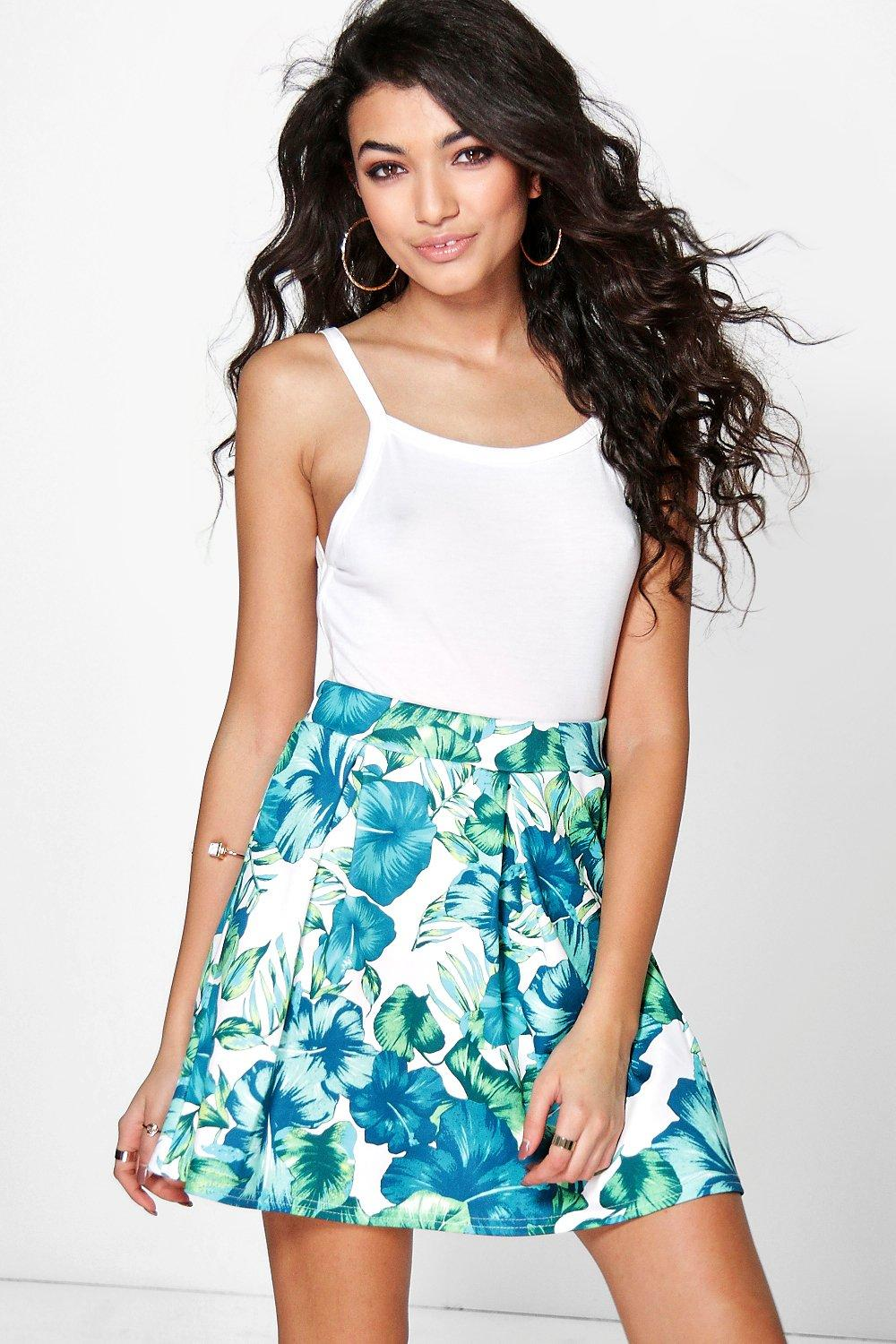 Giselle Tropical Leaf Full Mini Skirt