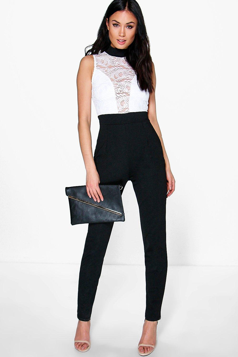 Jess Barely There Lace Skinny Leg Jumpsuit at boohoo.com