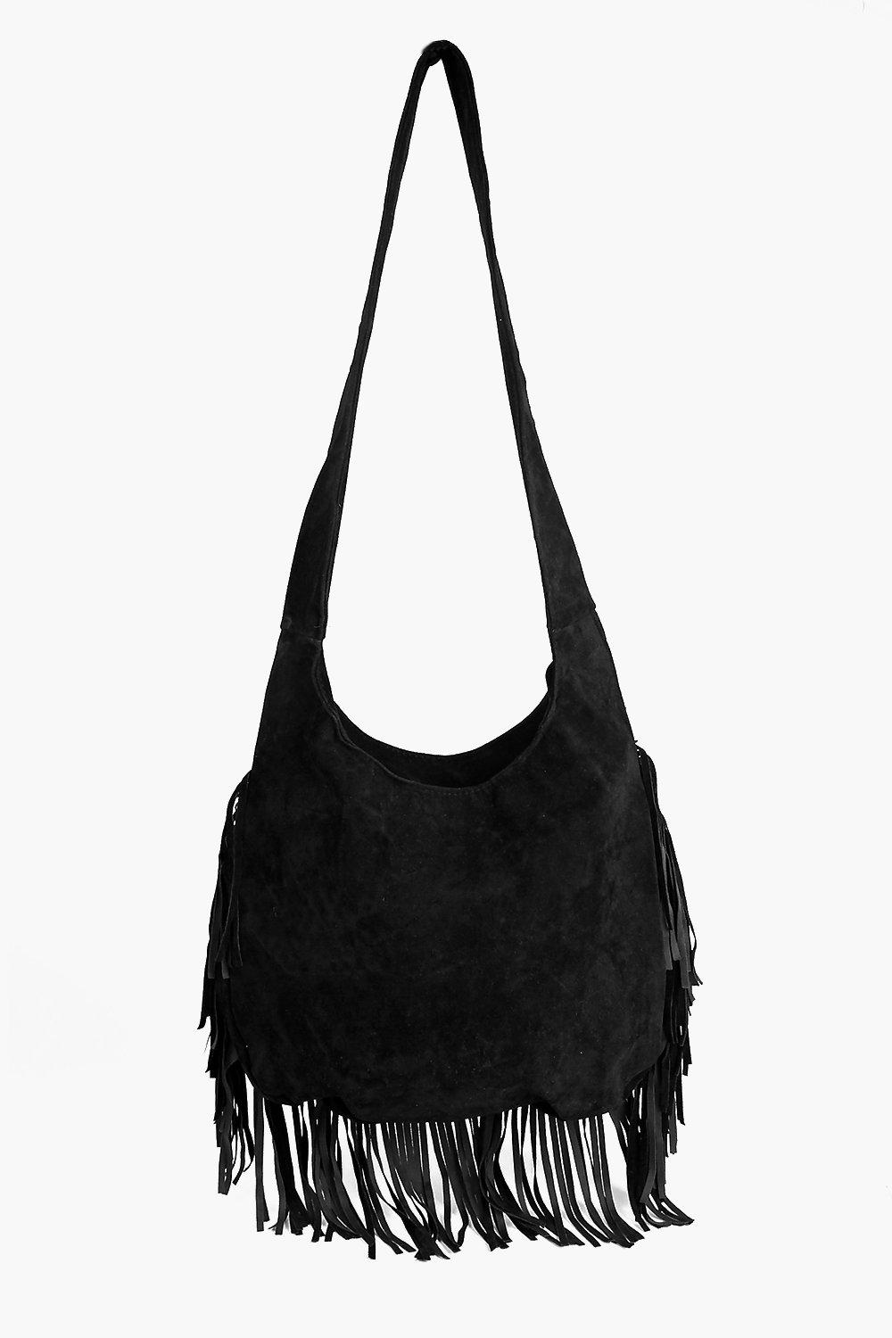 Ava Suedette Fringed Oversize Saddle Bag