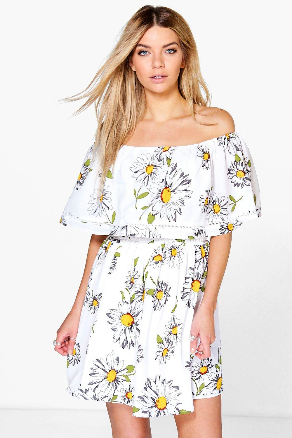 Amy Sunflower Frill Off The Shoulder Skater Dress