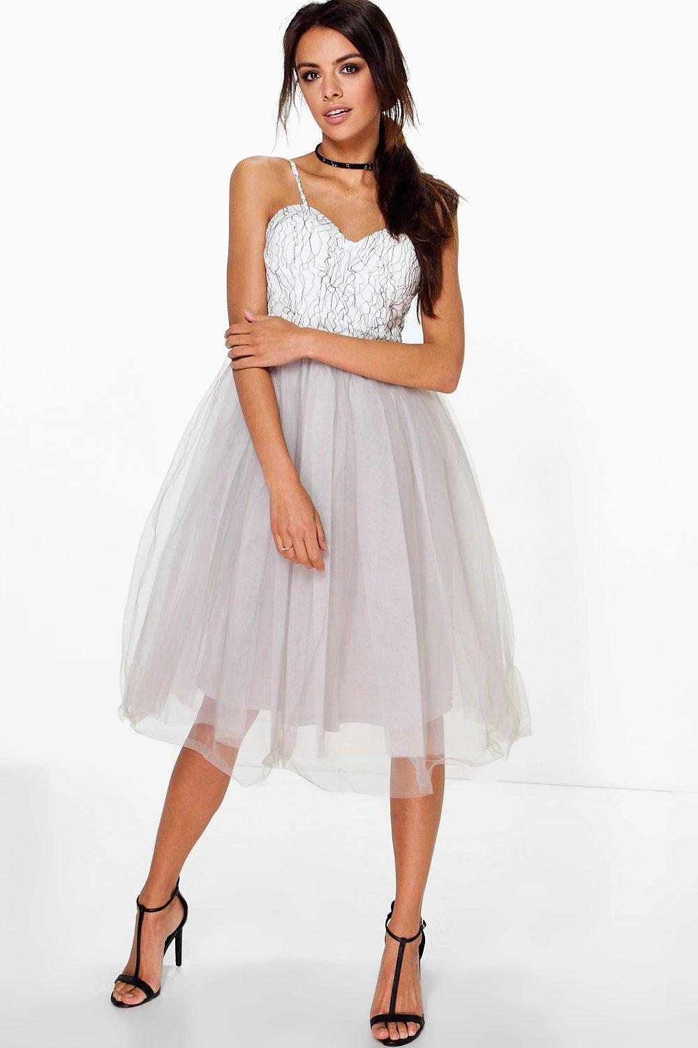 Boutique ana corded lace tulle prom dress at for Boohoo dresses for weddings