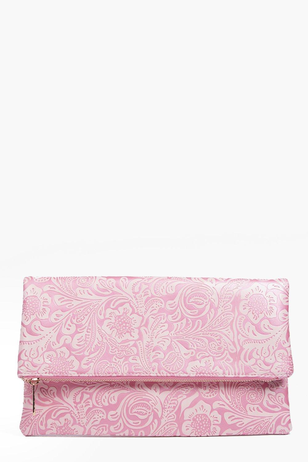 Ava Paisley Embossed Fold Over Clutch Bag