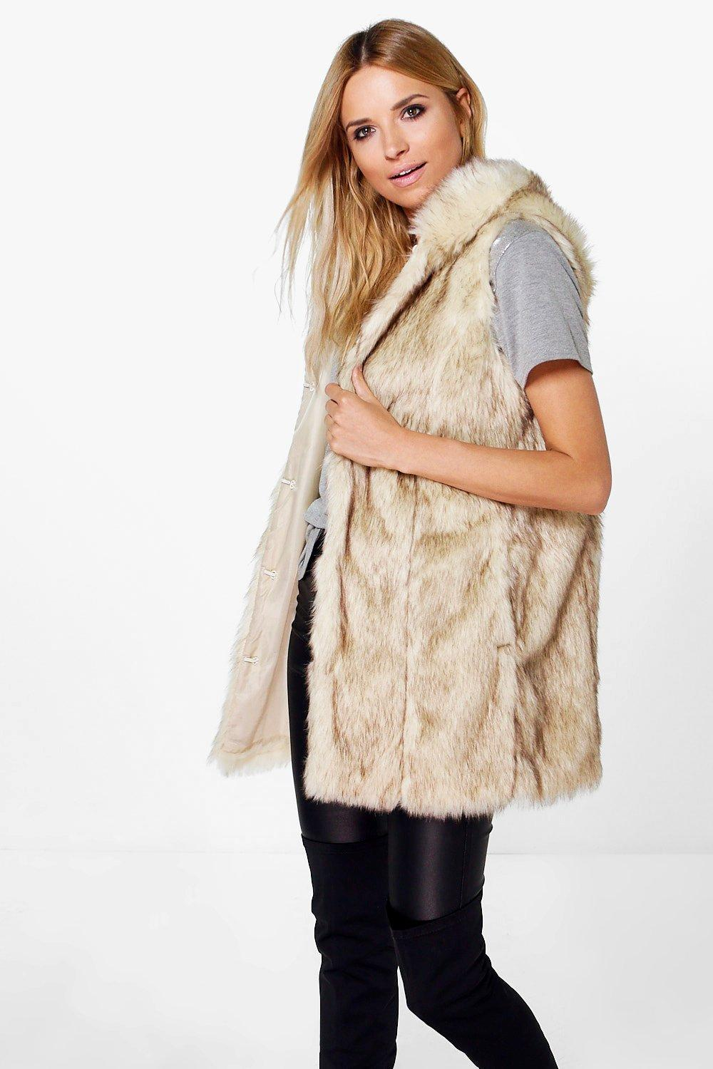 Boutique Erin Vintage Faux Fur Hooded Gilet
