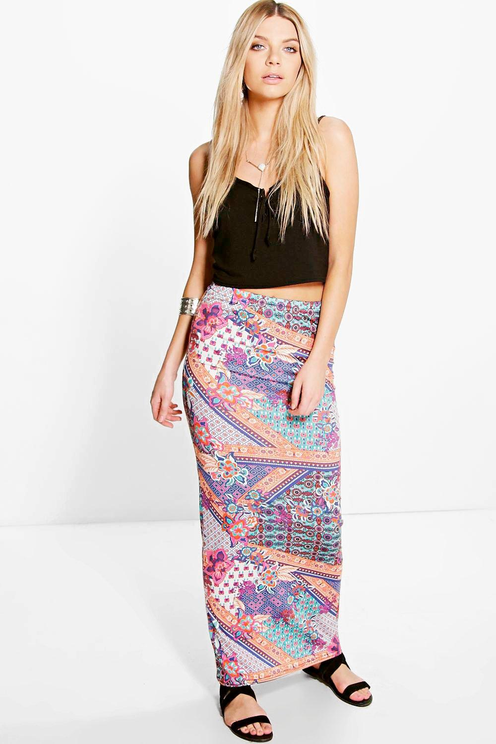 Avalen Bright Multi Print Maxi Skirt