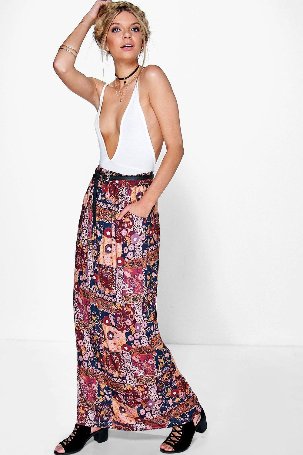 Alani Bohemian Print Pocket Detail Maxi Skirt