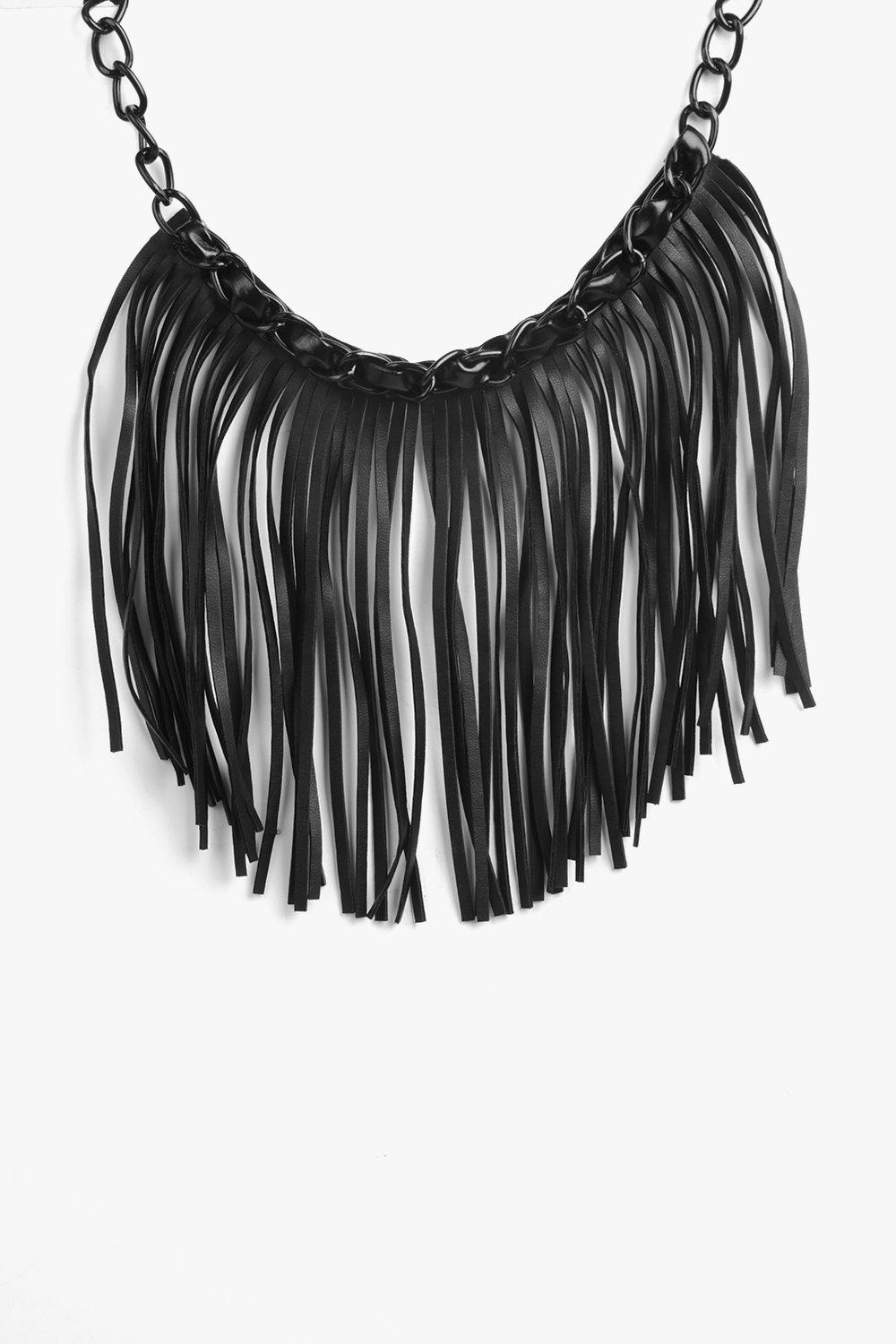 Phoebe PU Fringed Statement Necklace