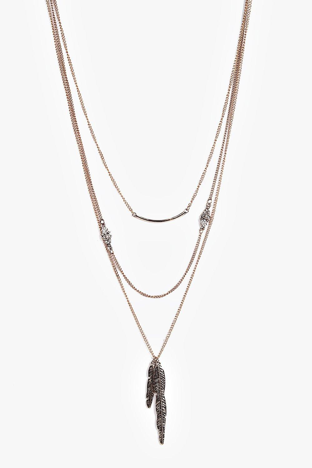 Anna Bar and Feather Layered Necklace