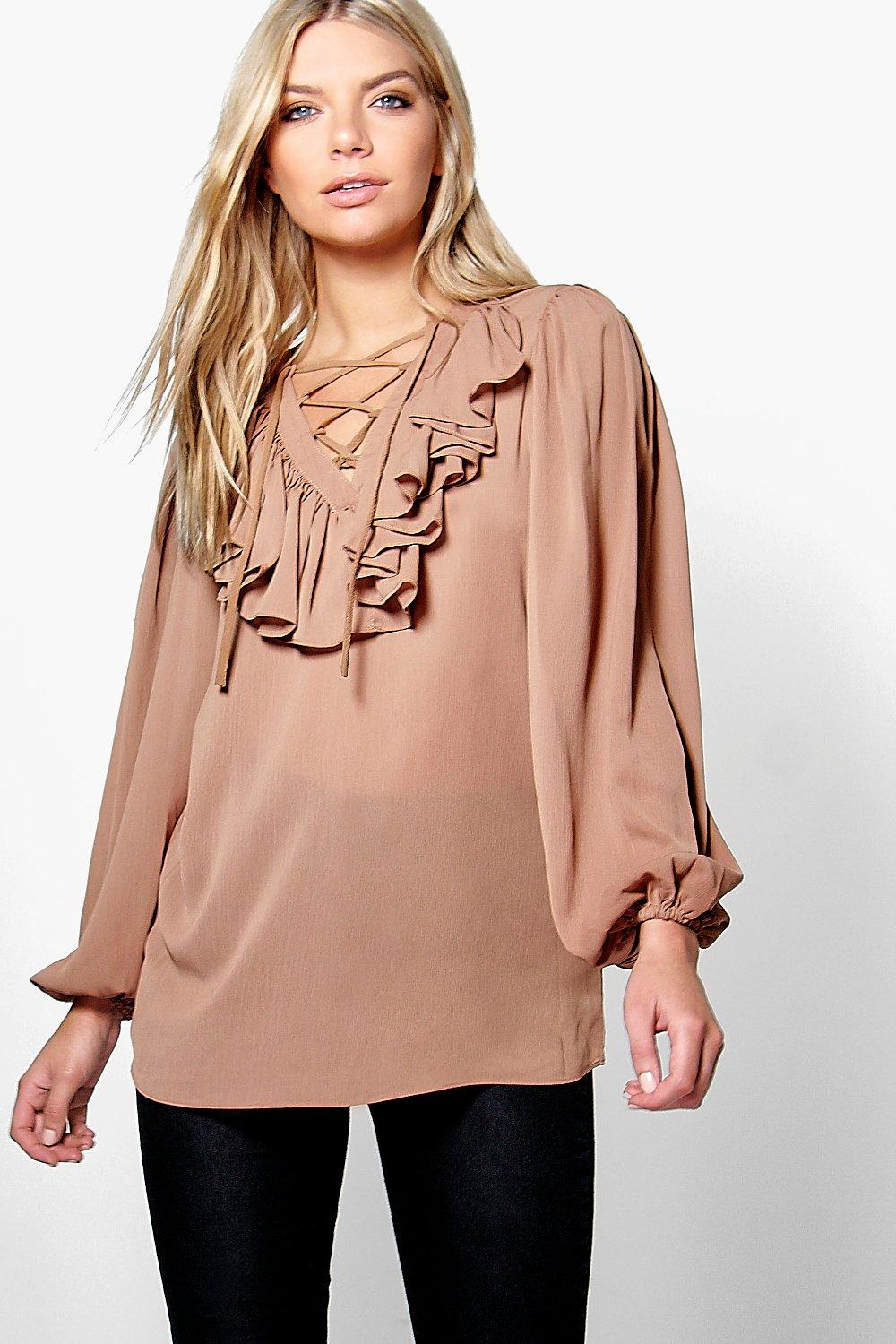 Rose Lace Up Ruffle Blouse