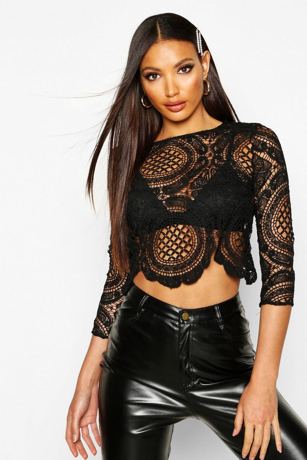 Holly Crochet Lace Zip Back Crop Top