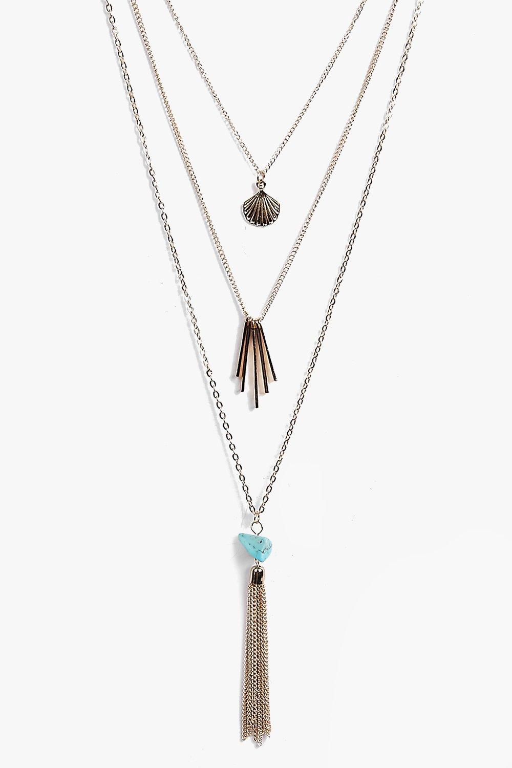 Katie Tassel Detail Layered Necklace Pack