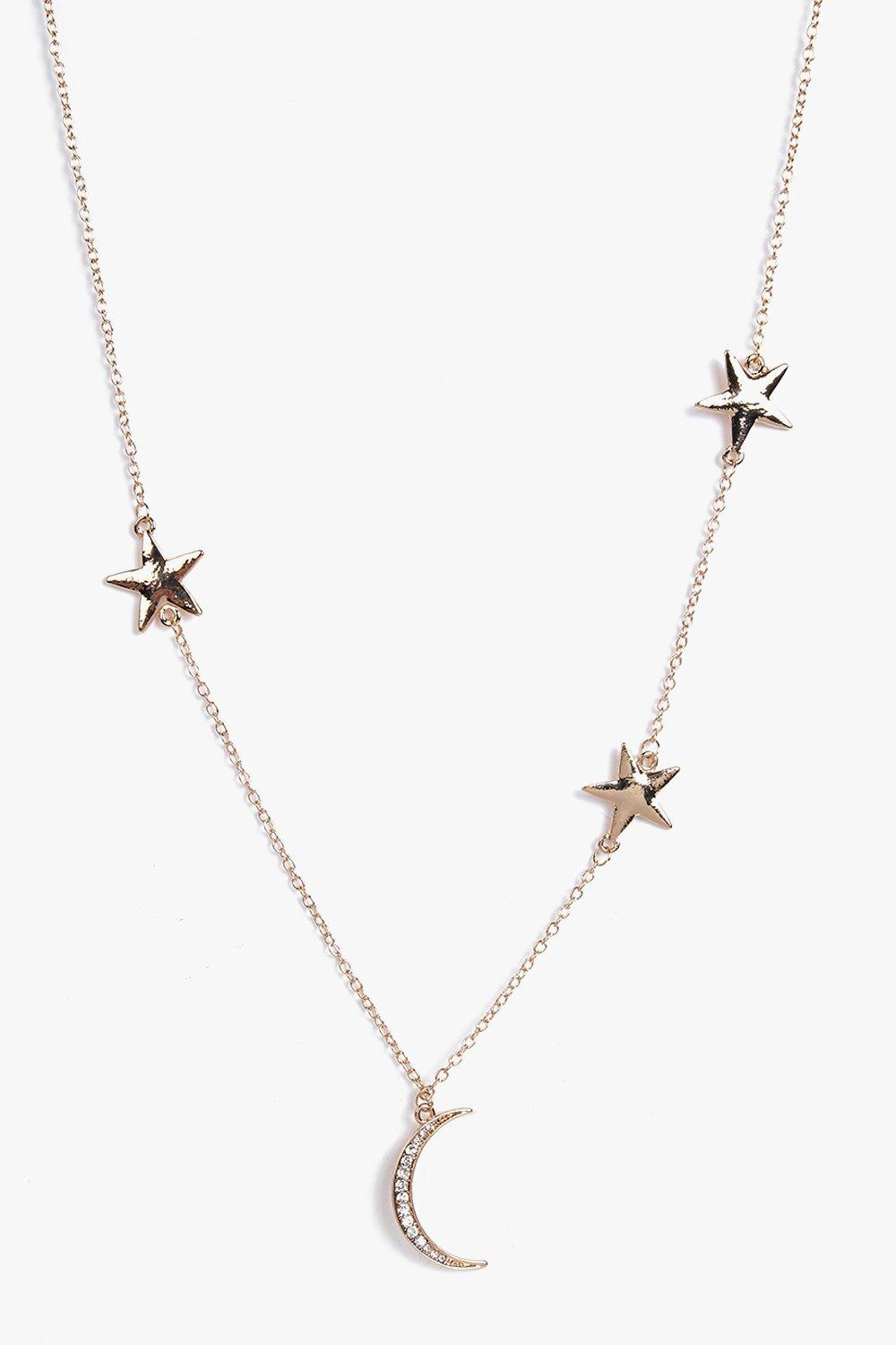 Lola Moon And Star Skinny Necklace