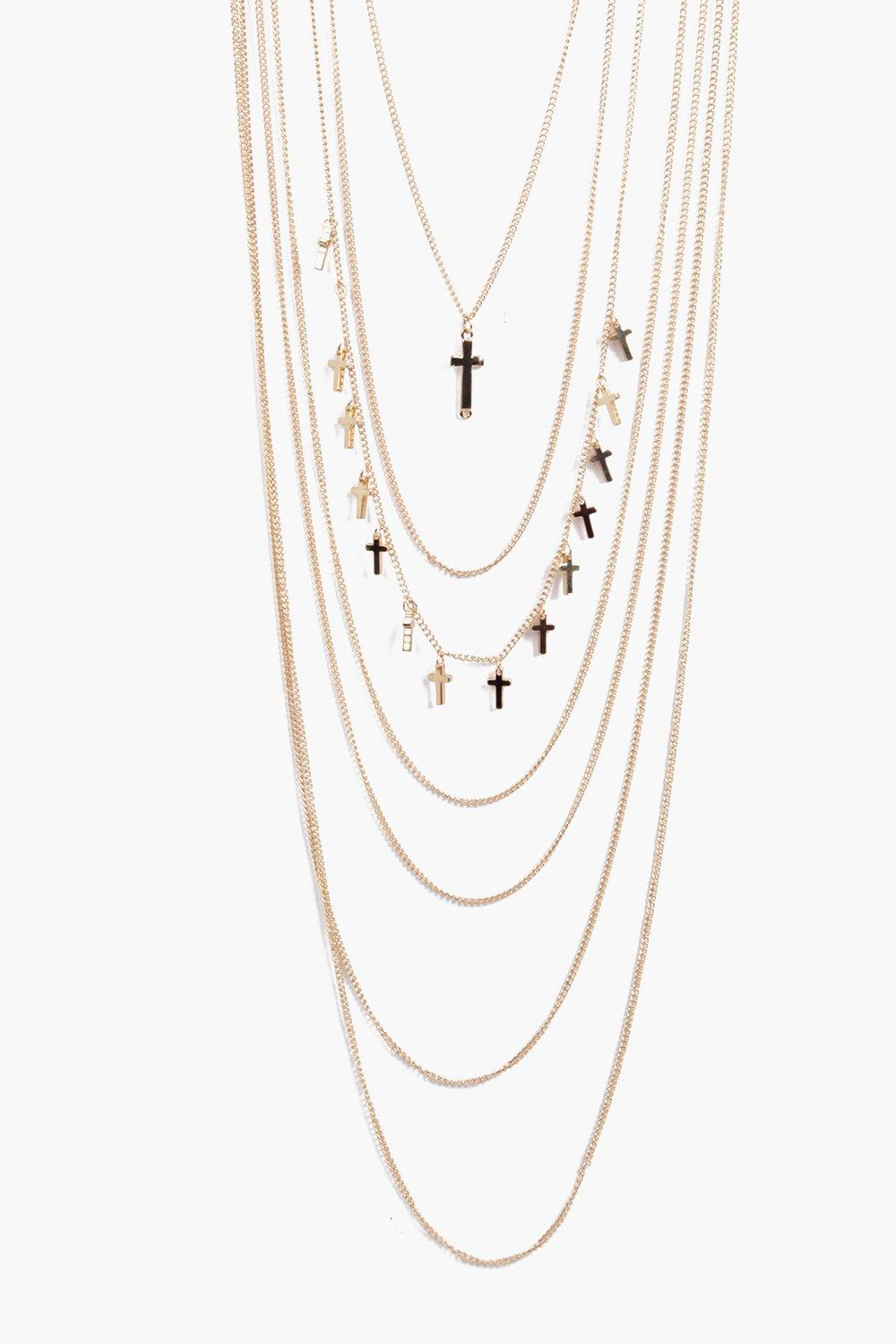 Nancy Cross Pendant Layered Necklace