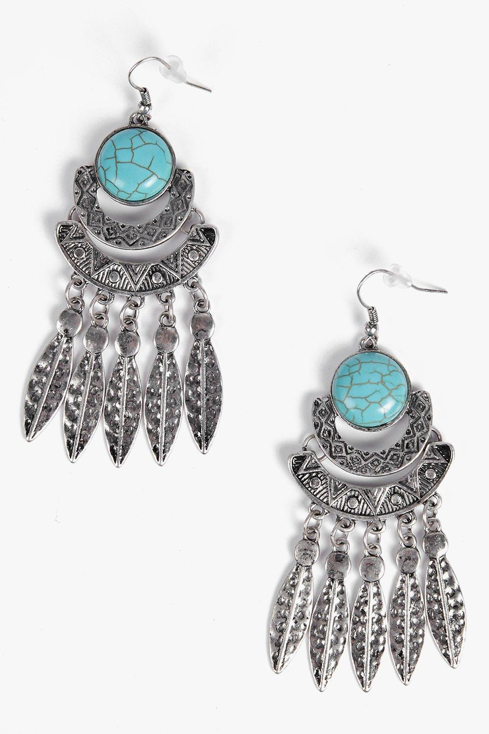 Eva Stone Detail Leaf Statement Earrings
