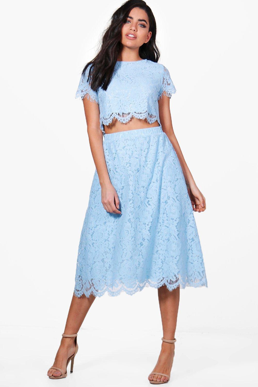 Boutique Aria Lace Full Midi Skirt Co-Ord Set at boohoo.com