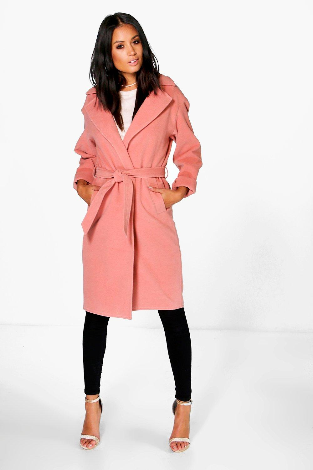 Emma Belted Wool Look Robe Duster