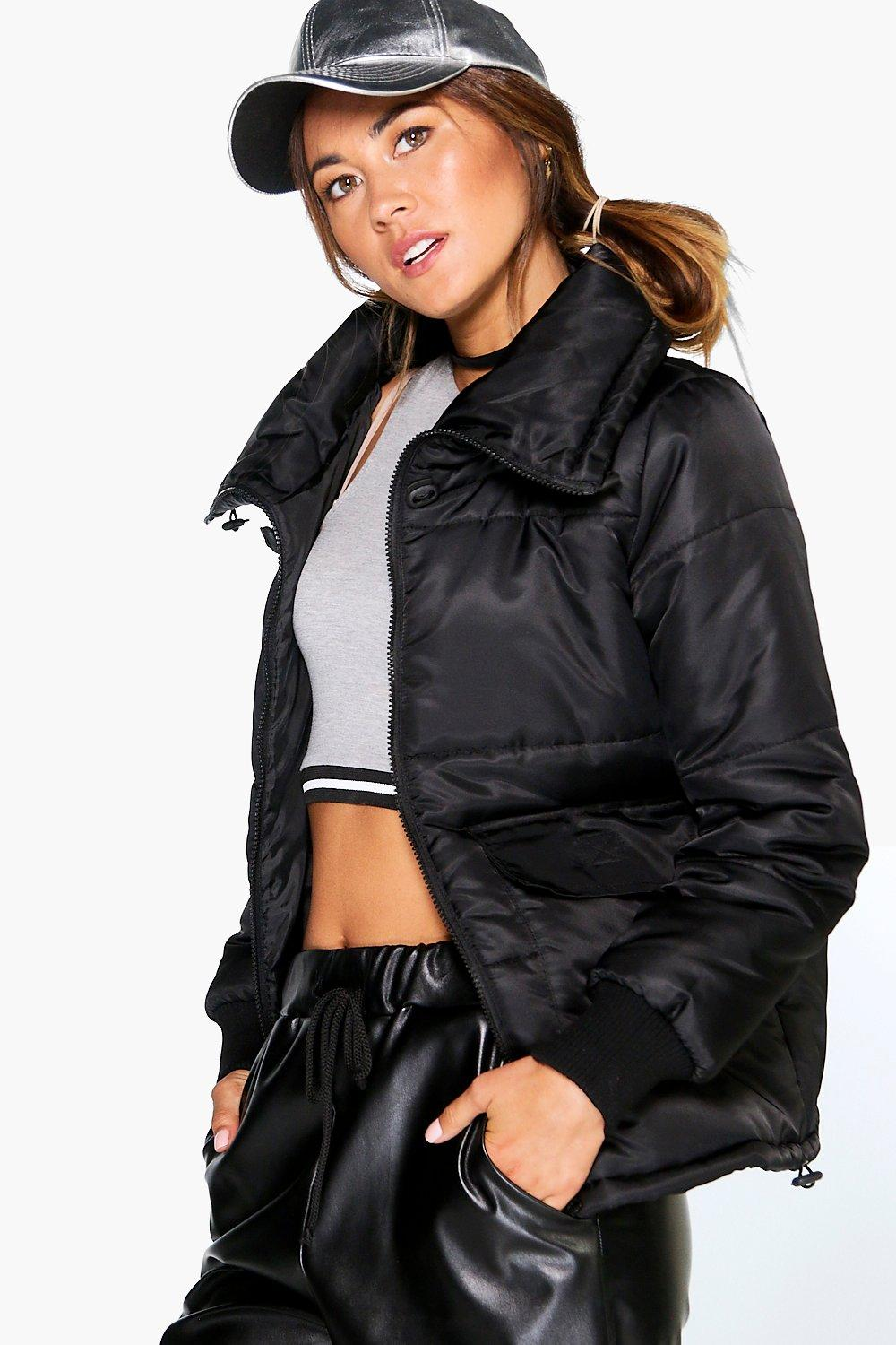 Ellie Funnel Neck Crop Quilted Jacket