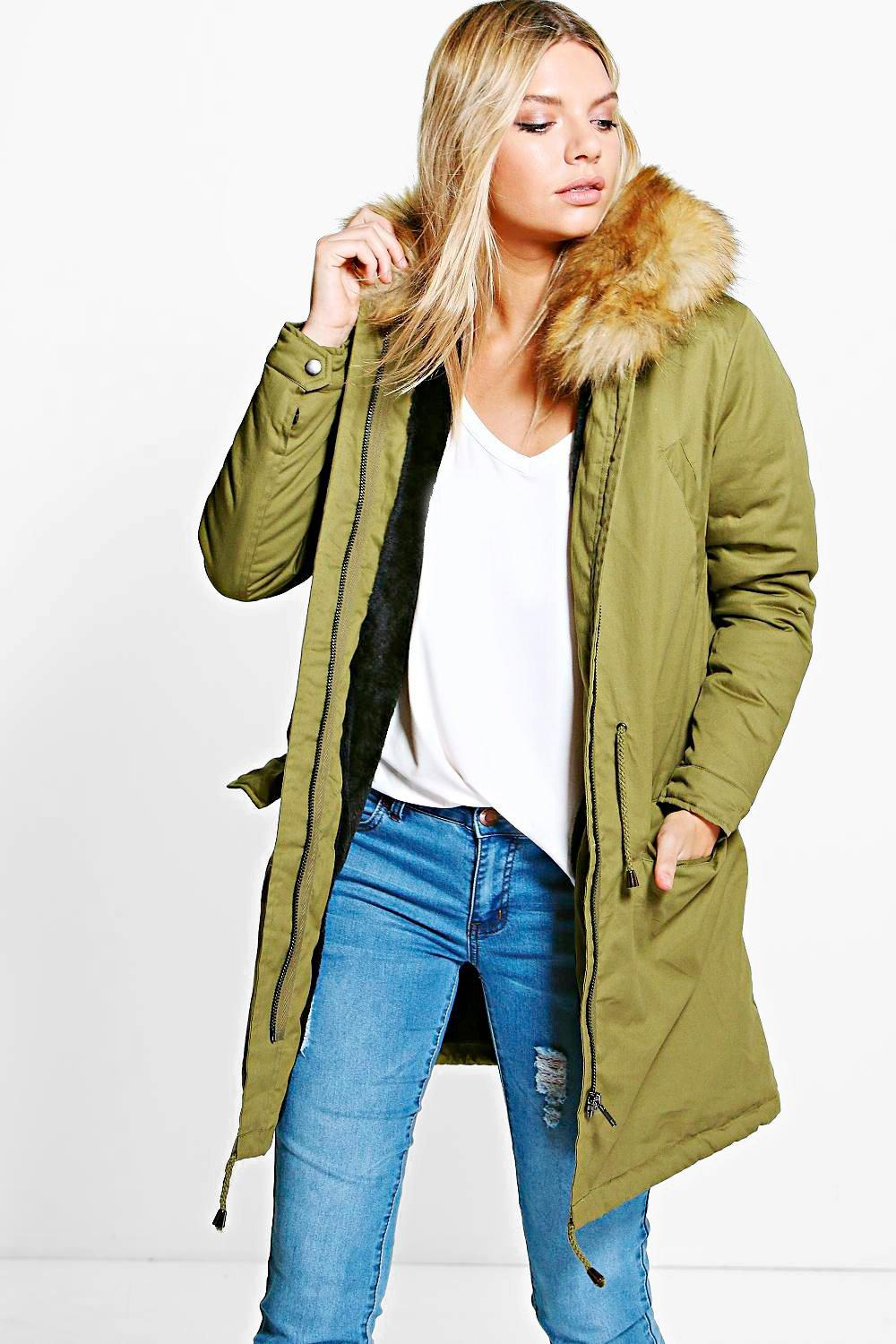 Boutique Isla Parka With Faux Fur Lining