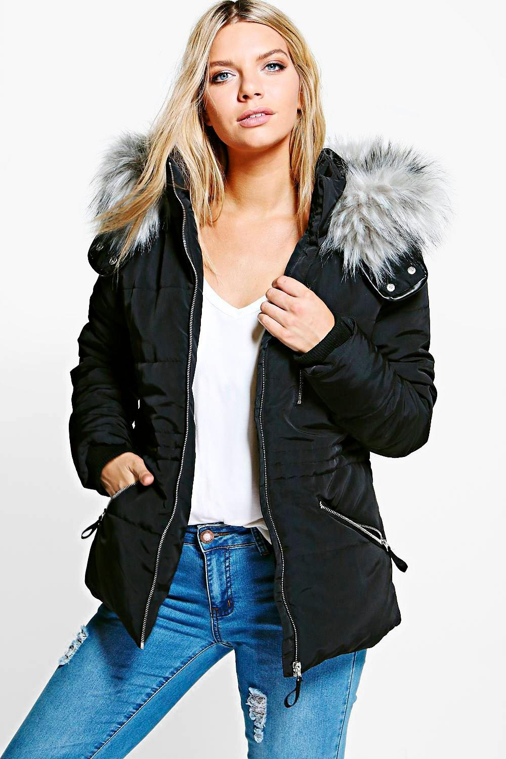 Jessica Sporty Quilted Jacket With Faux Fur Hood