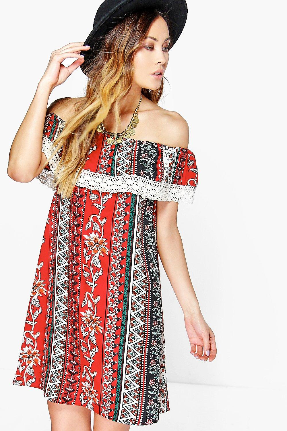 Aalia Crochet Trim Double Layer Dress