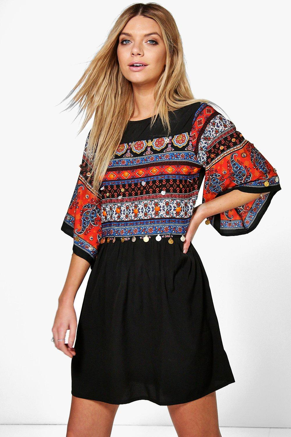 Boutique Kyra Embellished Printed Smock Dress