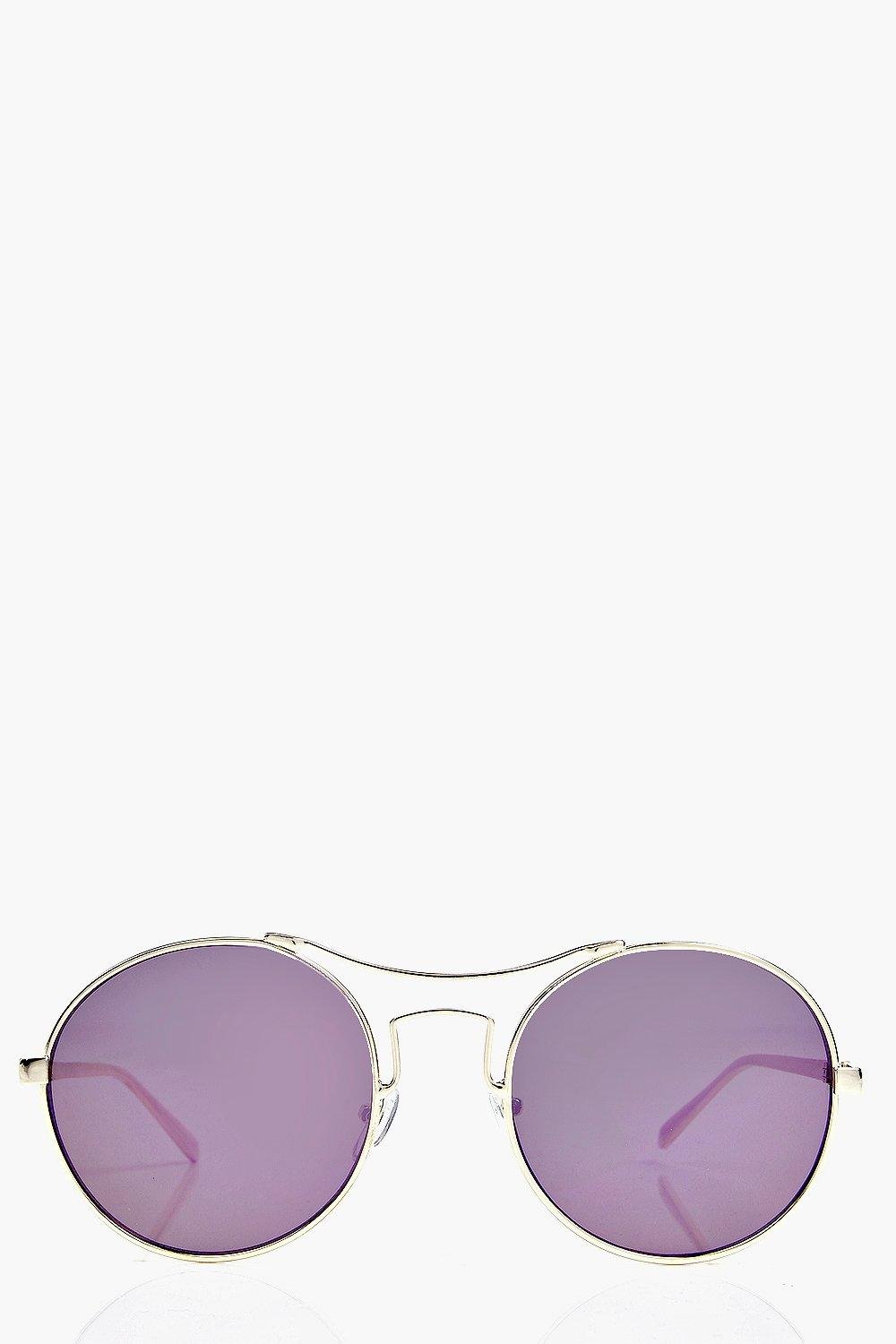 Ella Metal Bar Round Frame Aviators