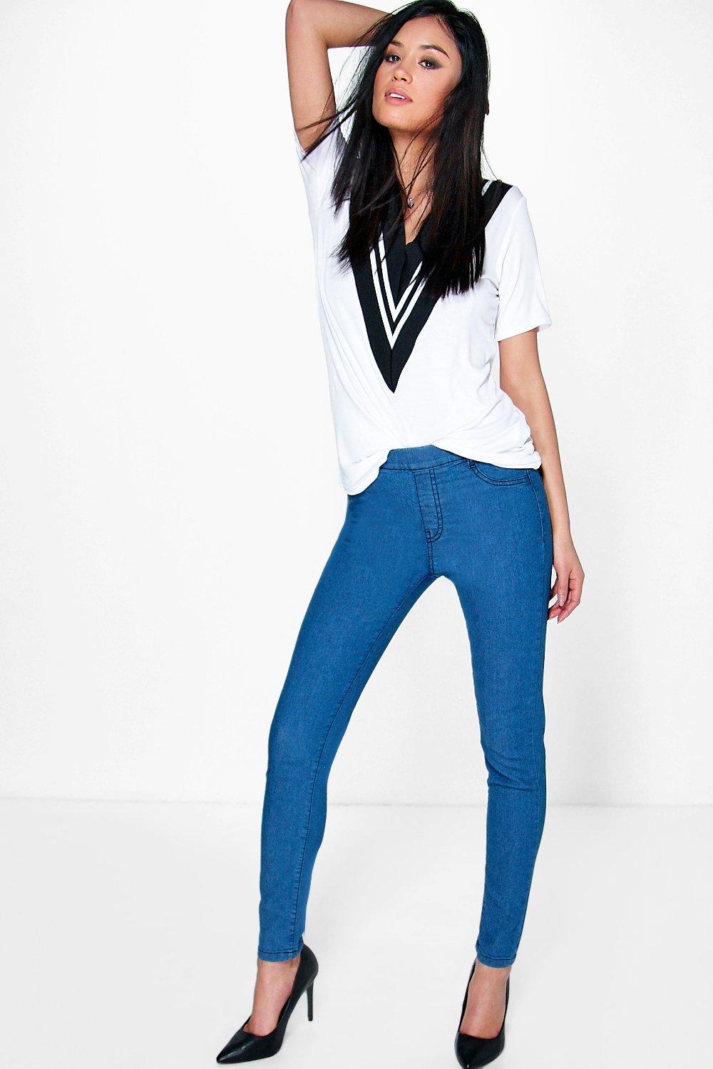 Lace Pull Up Denim Jeggings