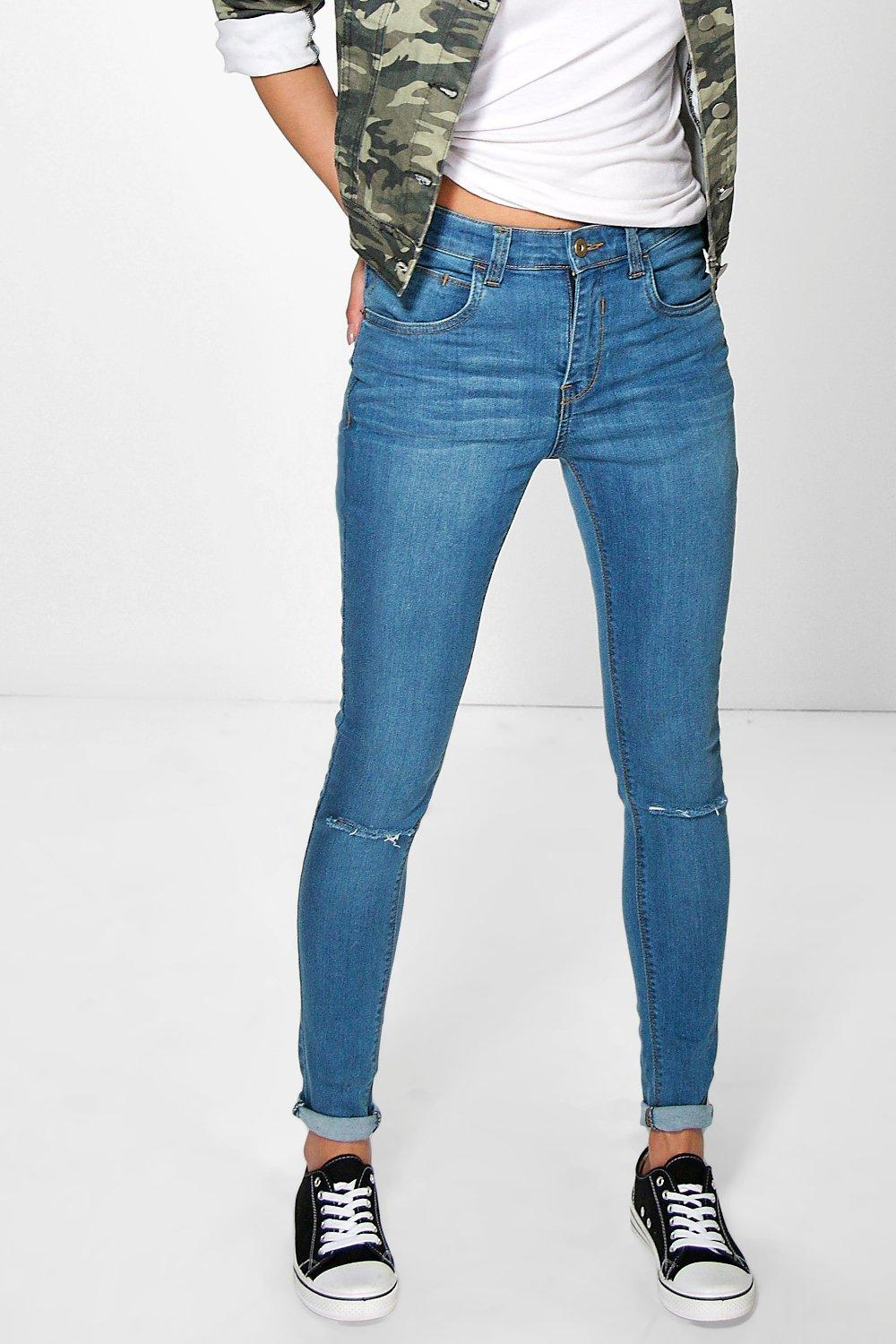 Jenny High Rise 5 Pocket Skinny Jean With Knee Rips