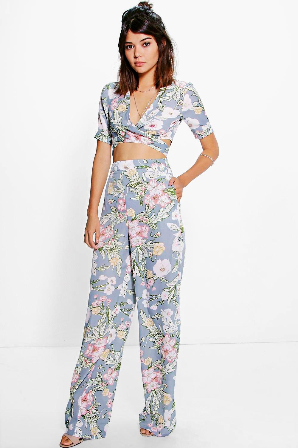 Sara Woven Floral Top & Trouser Co-Ord Set
