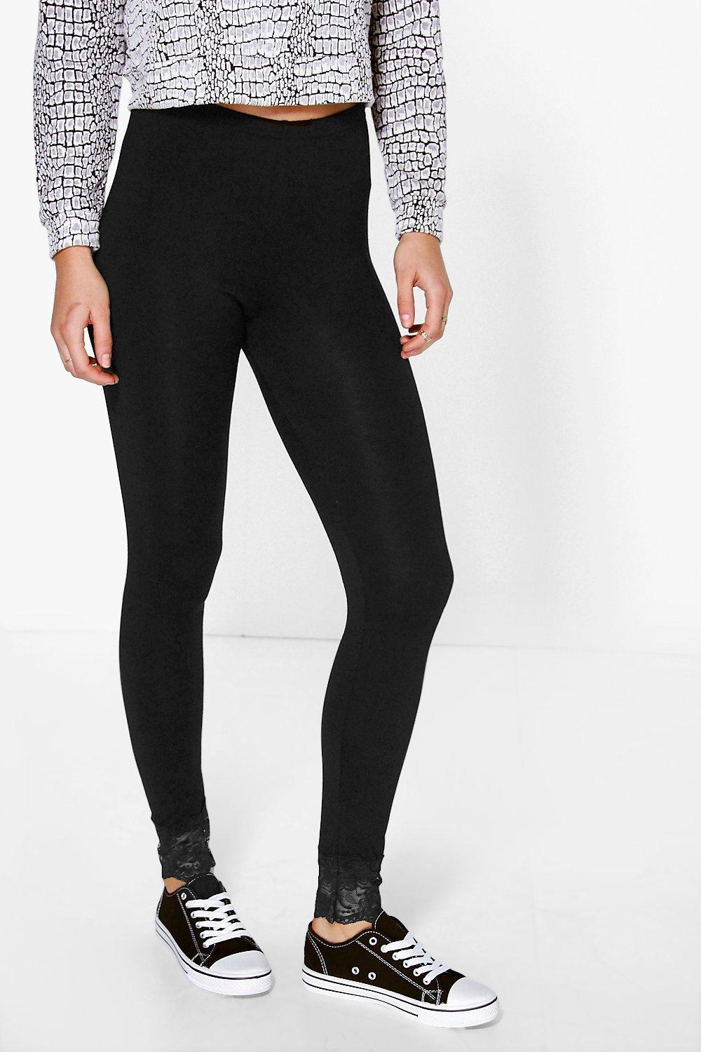 Amelie Lace Trim Basic Leggings