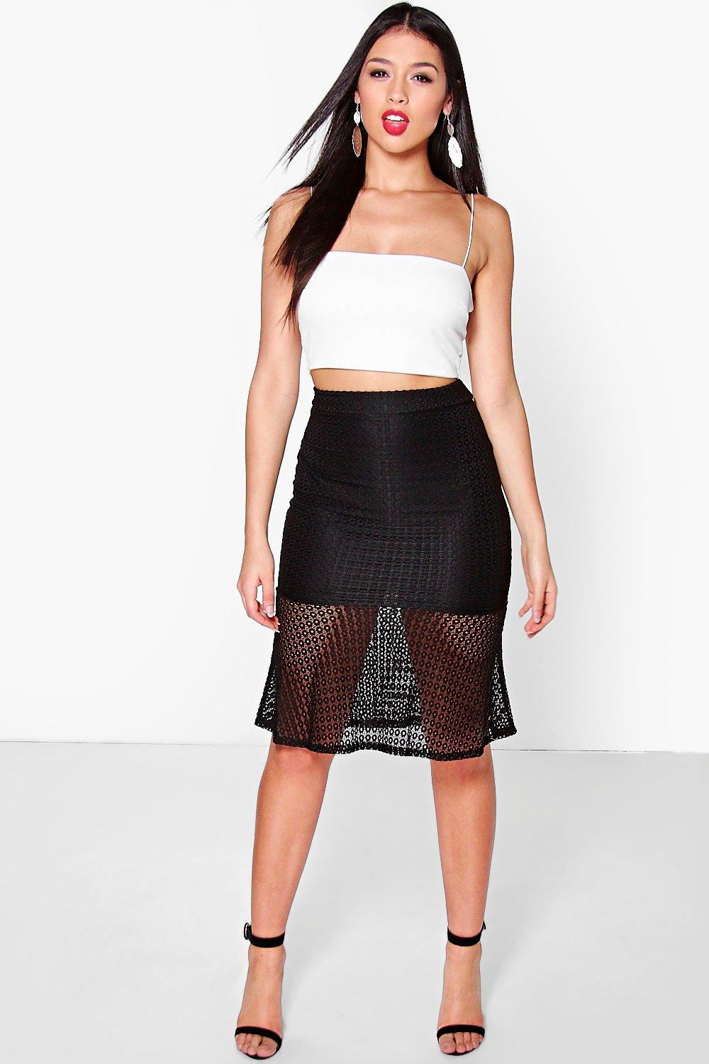 Liliana Crochet Fit & Flare Midi Skirt