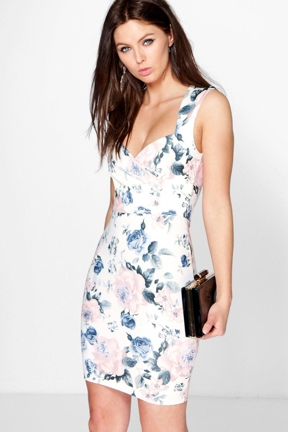 Fania Floral Print Sweetheart Bodycon Dress