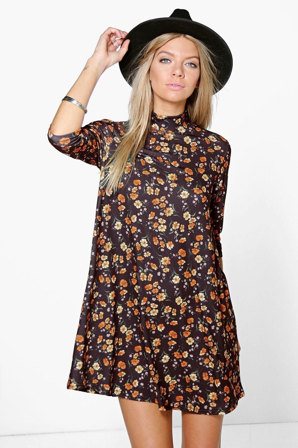 Arabella Floral High Neck Swing Dress