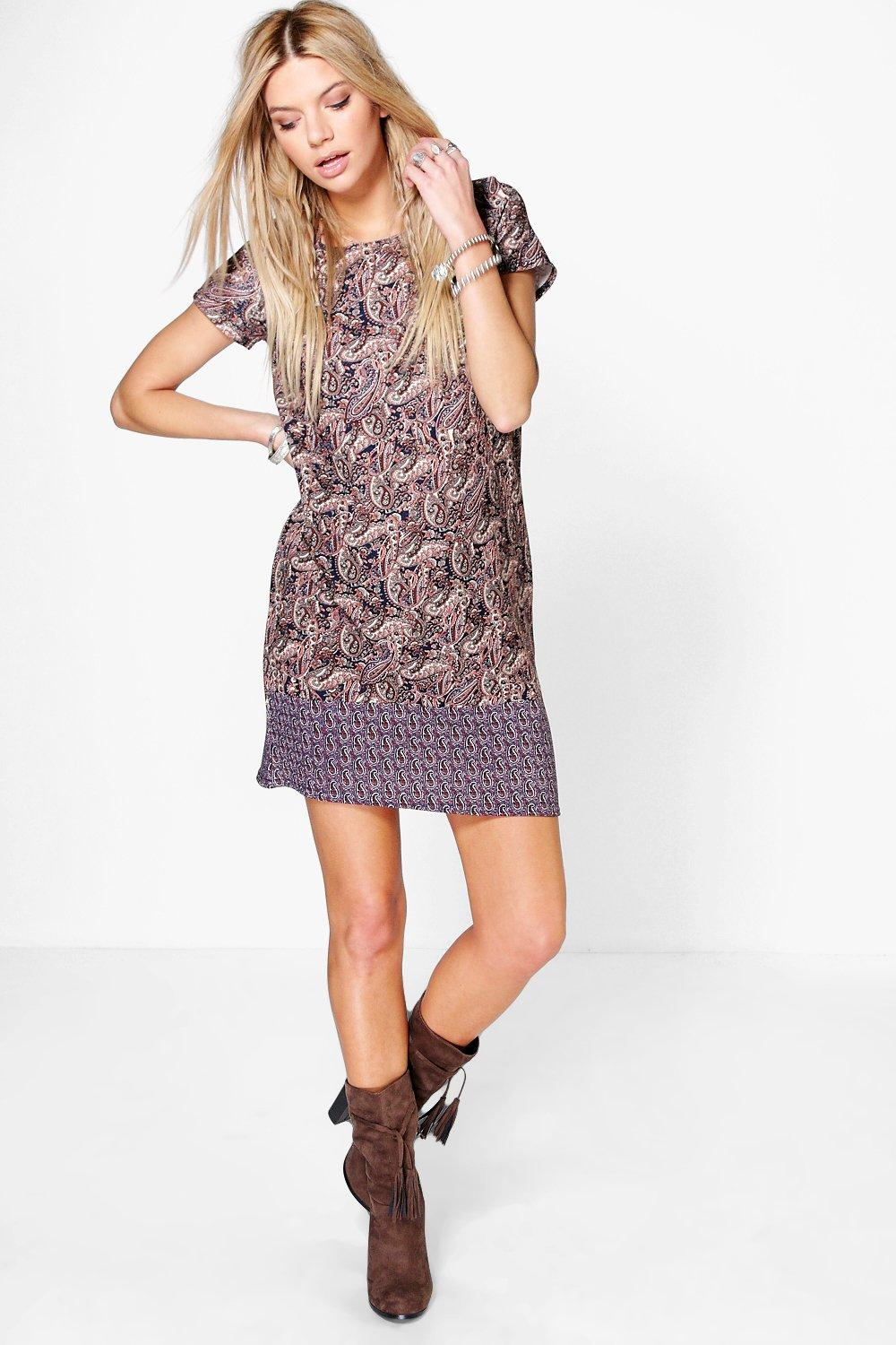 Lily Border Print Paisley Shift Dress