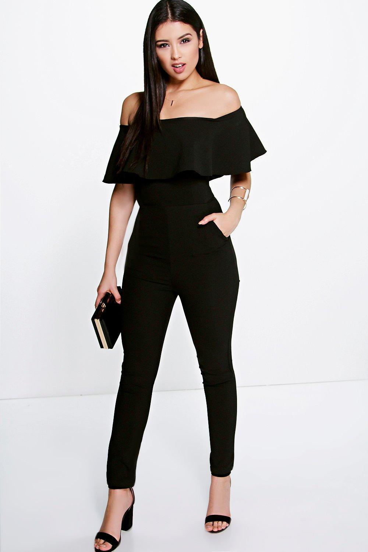 Boutique Taylor Frill Off The Shoulder Jumpsuit at boohoo.com