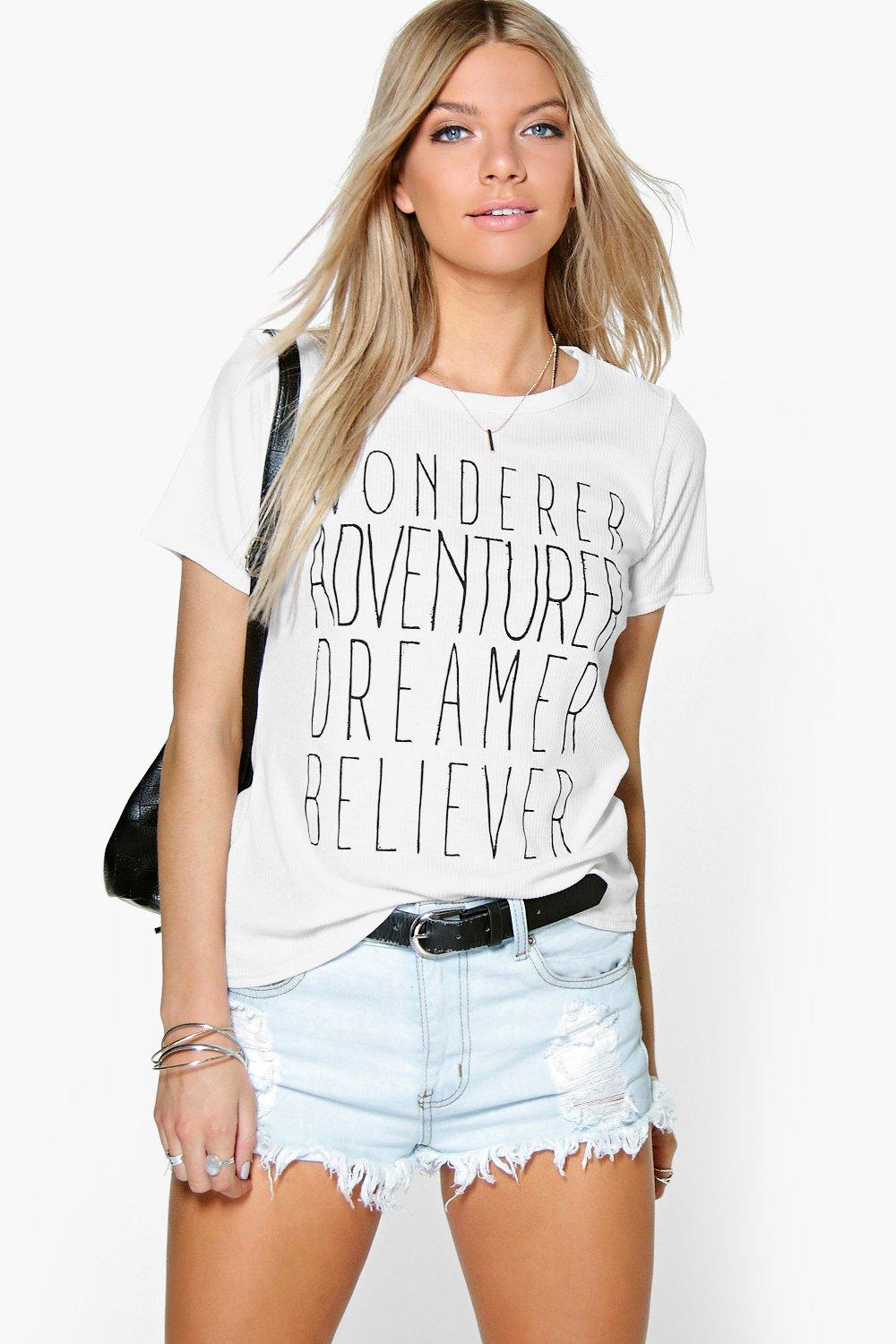 Lily Adventurer Slogan Ribbed T-Shirt