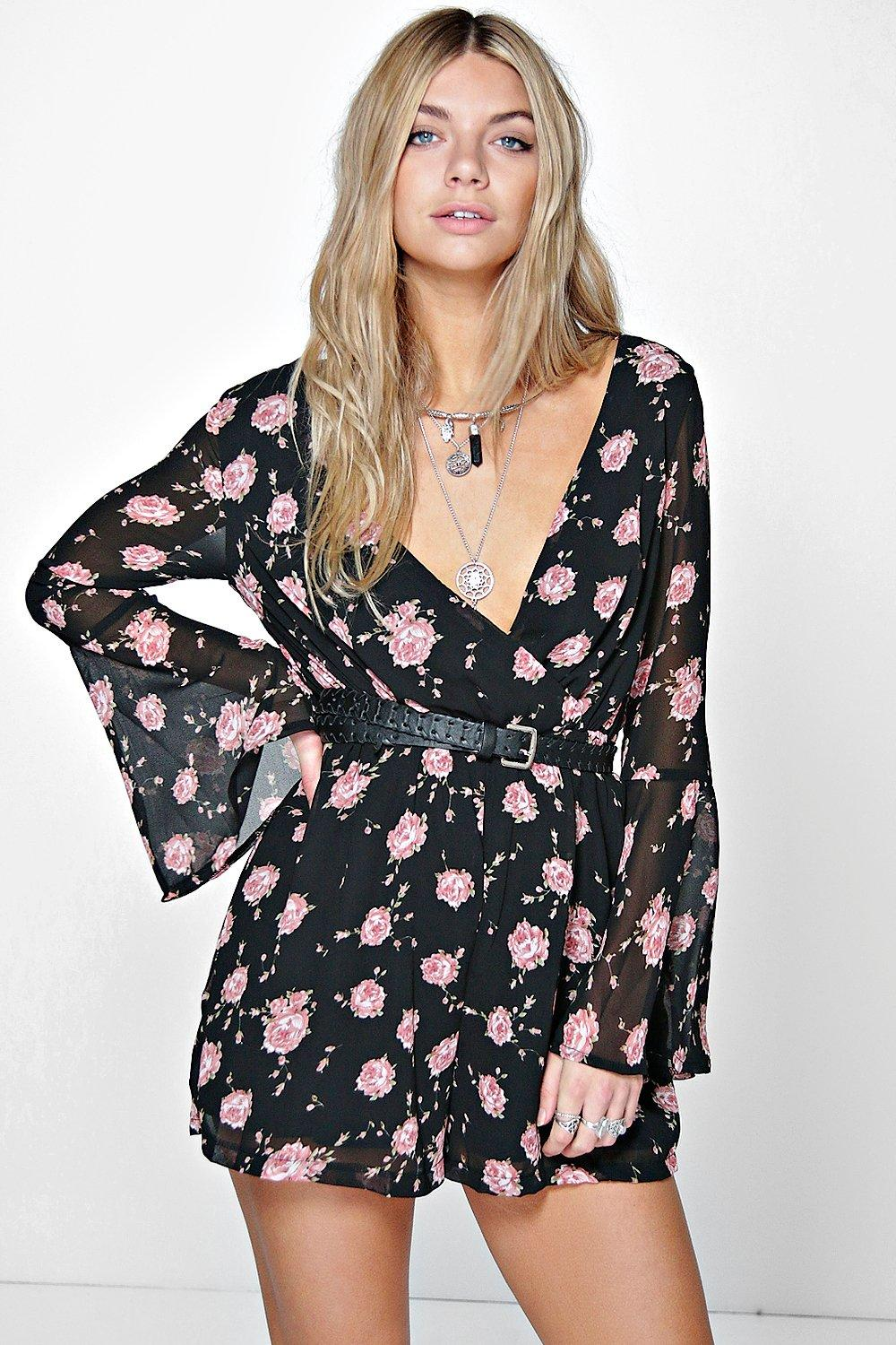 Gia Floral Print Flute Sleeve Chiffon Playsuit