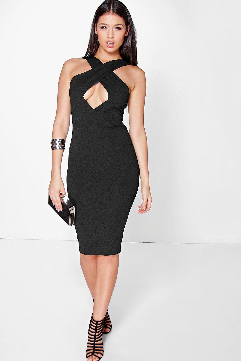 Sondra Cross Over Detail Midi Bodycon Dress