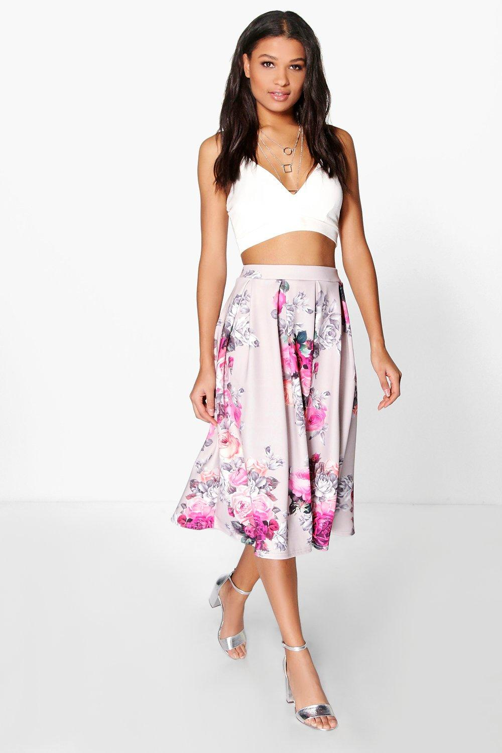 Sahara Floral Print Full Midi Skirt at boohoo.com