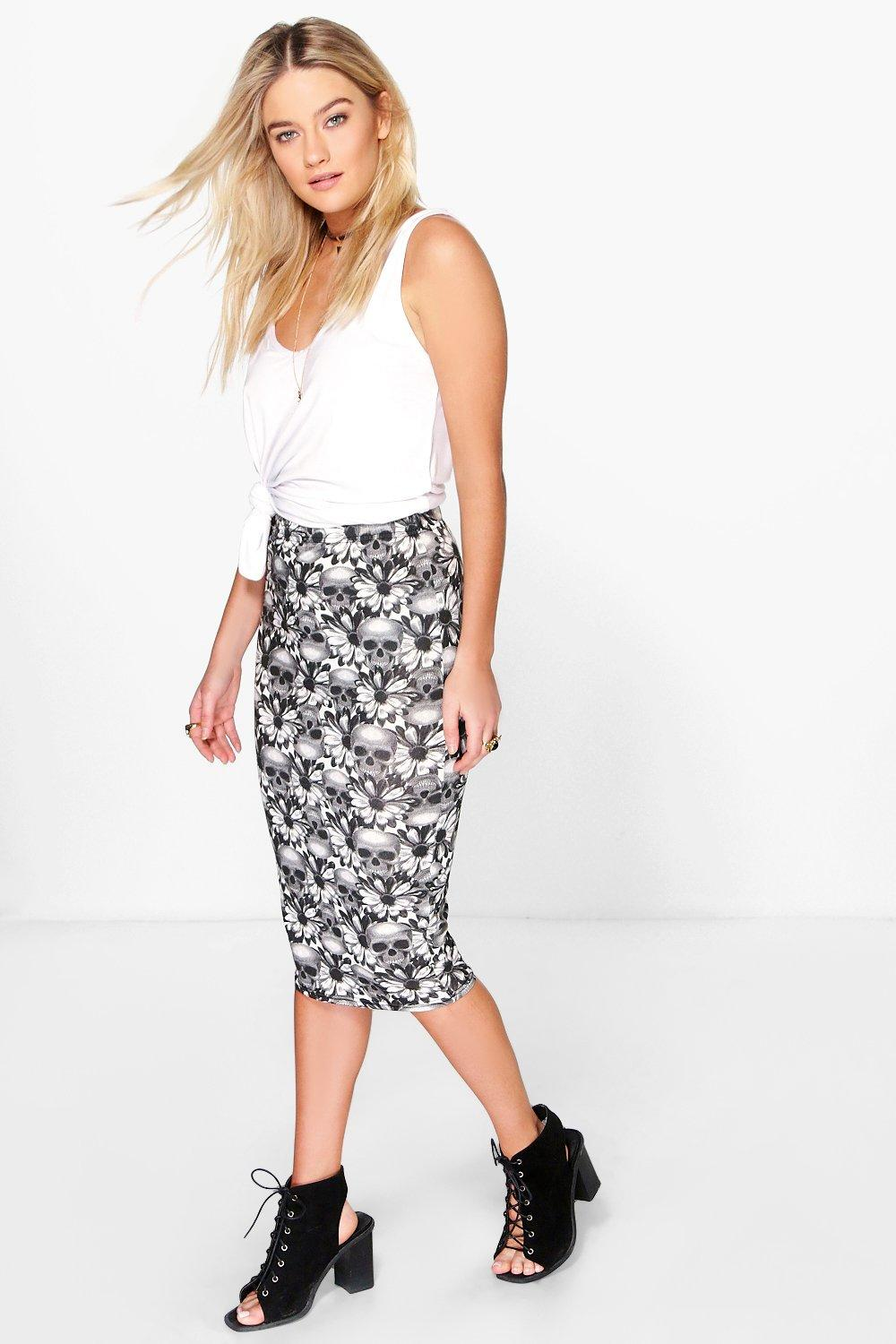 Verity Skull And Flower Midi Skirt