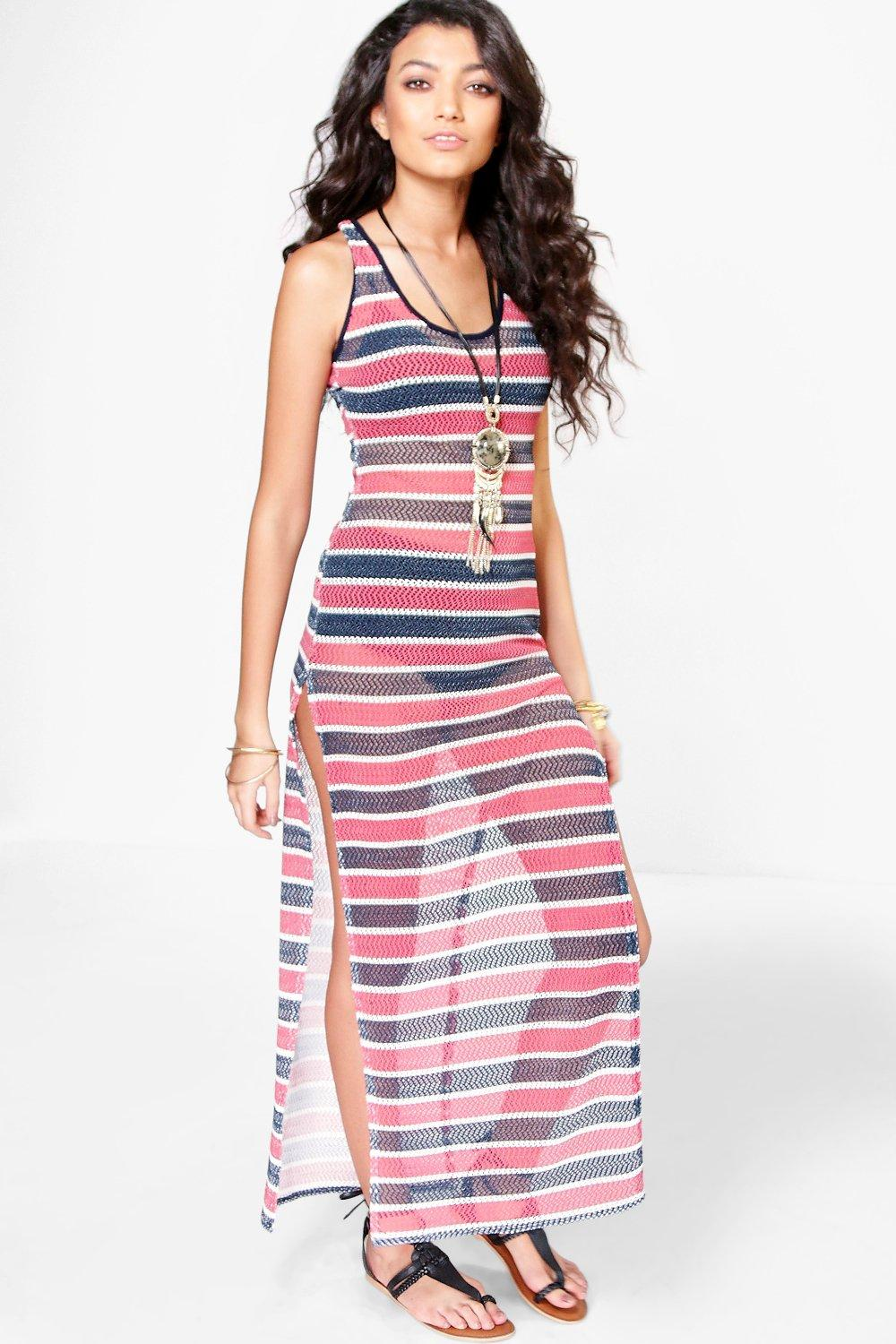 Elize Airtex Stripe Maxi Dress