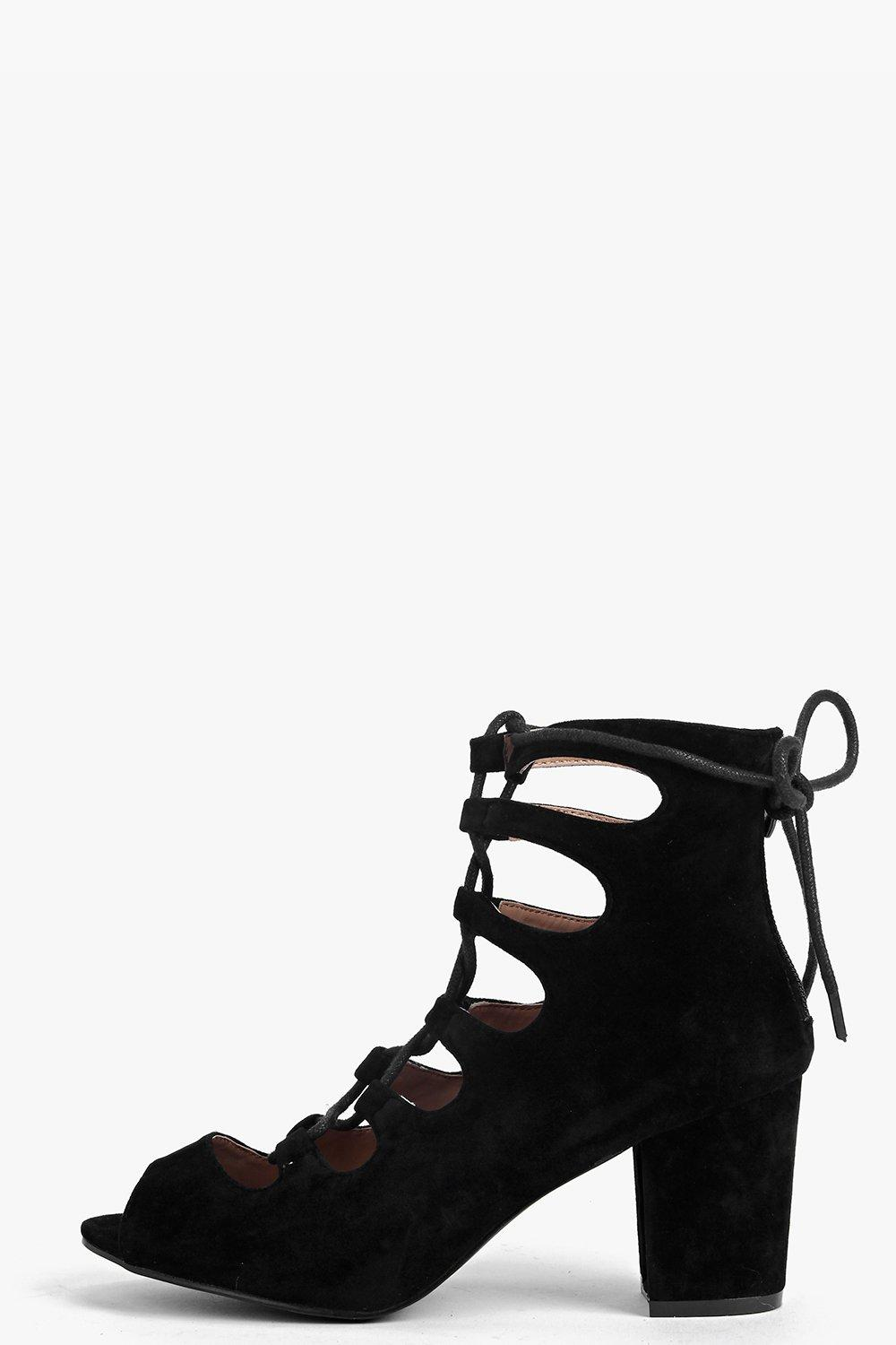 Alice Suedette Lace Up Mid Block Heel Shoe