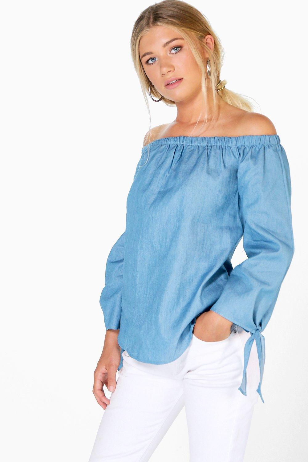 Willow Chambray Tie Sleeve Off The Shoulder Top