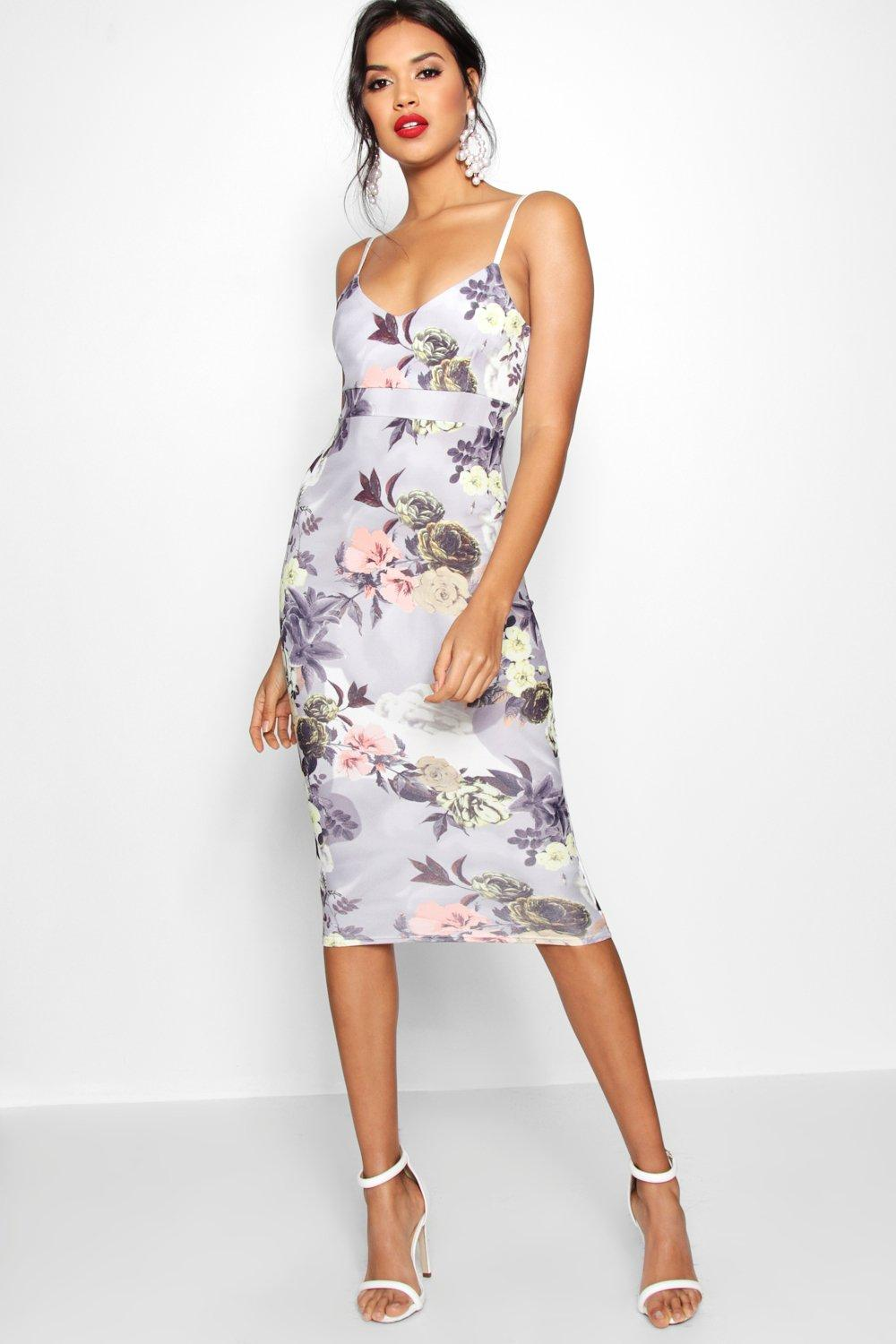 Coreline floral midi dress at for Boohoo dresses for weddings