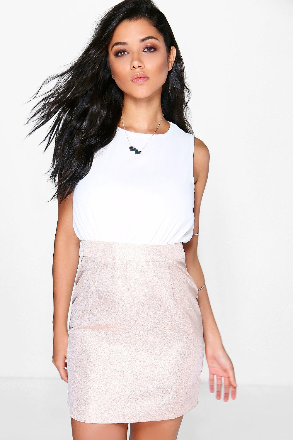 Tanya Chiffon Top Metallic Fitted Dress